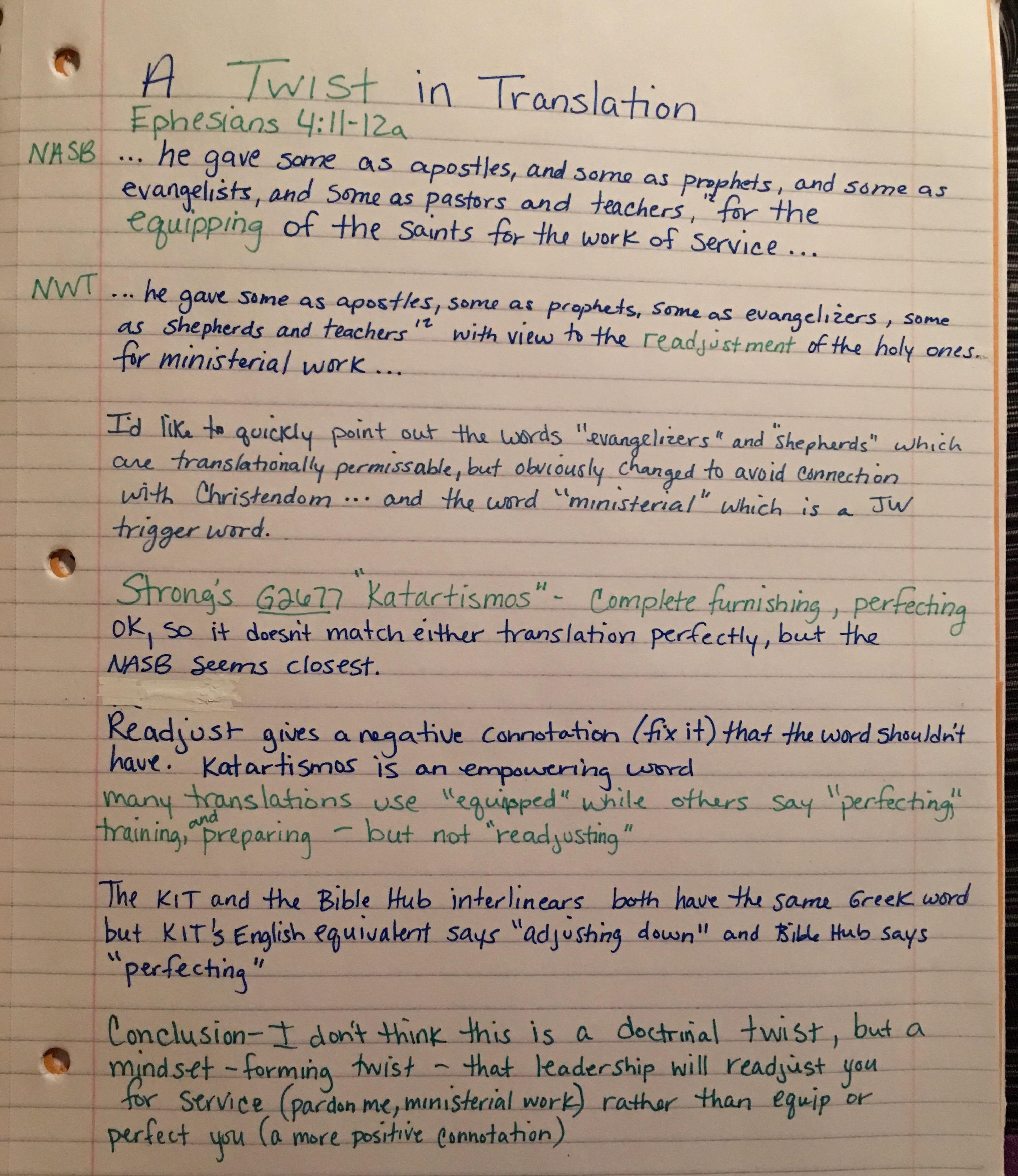 JWs Readjusted – A Twist in Translation